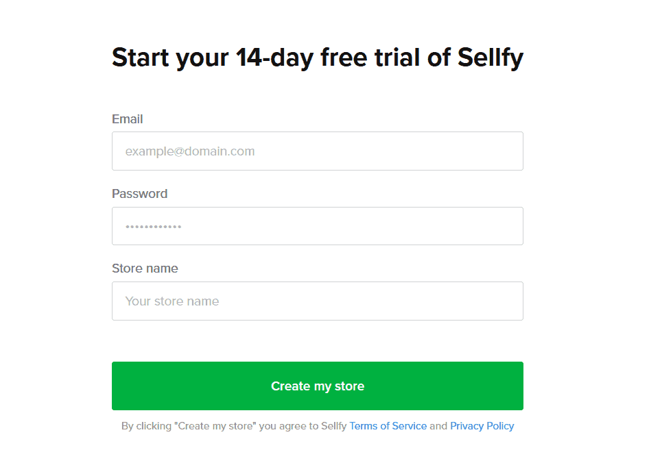 Create account with Sellfy