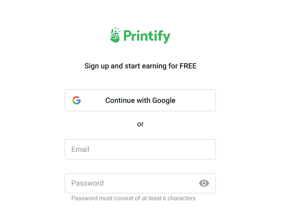 Printify sign up