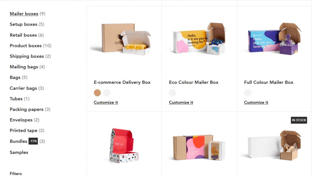 Packhelp product catalog