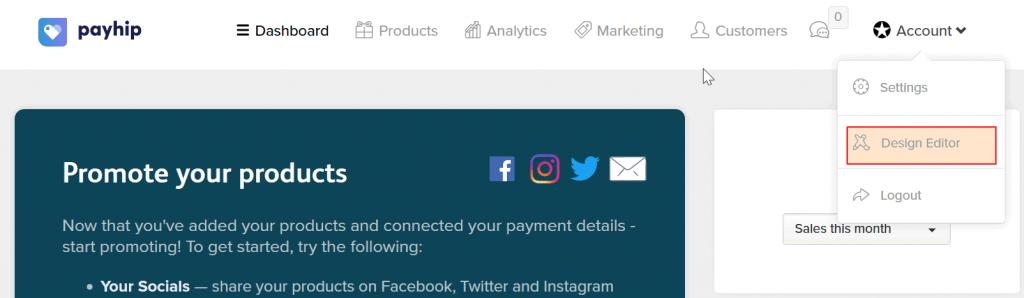 Payhip design editor