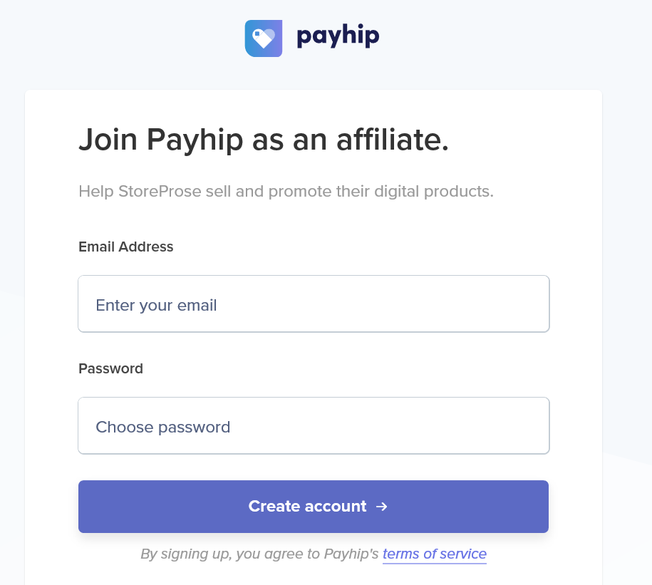Payhip affilate signup form